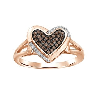 1/6 cttw Brown & White Diamond Heart Cluster Ring 925 Sterling Rose Gold plated