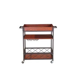 Kitchen Mobile Serving Bar Cart With Shelves , Brown And Black