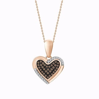 "1/6ct Brown & White Diamond Heart Pendant Necklace 925 Sterling Rose Gold Palted with 18"" chain"