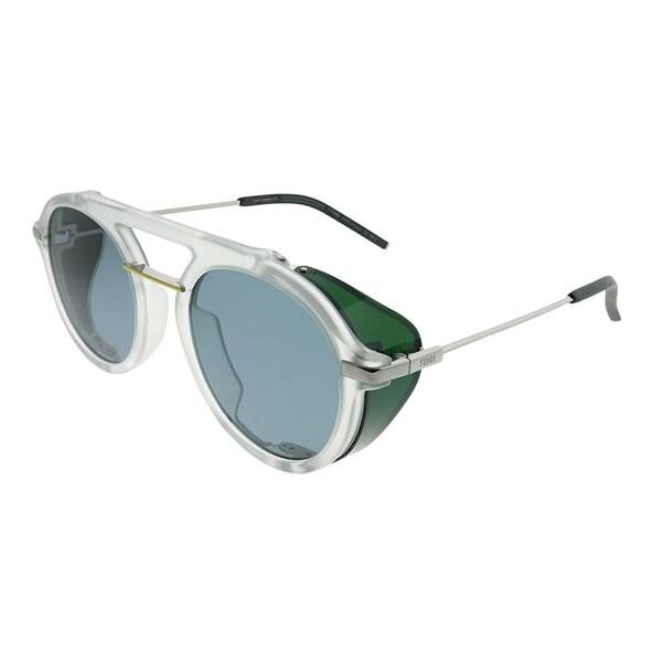 4f4d40e21e89 Fendi Round FF M0012 Fendi Fantastic 900 IR Unisex Crystal Frame Grey Blue  Lens Sunglasses