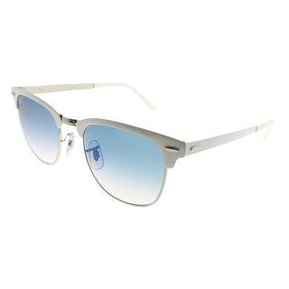 Ray-Ban Clubmaster RB 3716 Clubmaster Metal 90883F Unisex White on Silver Frame Blue Gradient Lens Sunglasses