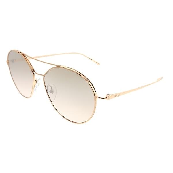171f9e508ffa Prada Round PR 56US SVF204 Woman Pink Gold Frame Brown Mirror Gradient Lens  Sunglasses