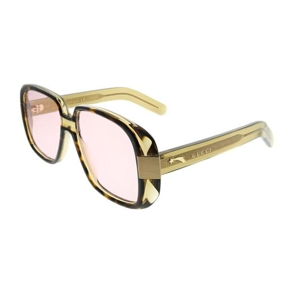 ef9fa819e0c0c Gucci Rectangle GG 0318S 3 Women Havana Green Frame Pink Lens Sunglasses