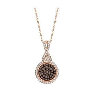 "1/3 ct Brown & White Diamond Round Cluster Pendant Necklace 925 Sterling Silver with 18"" chain"