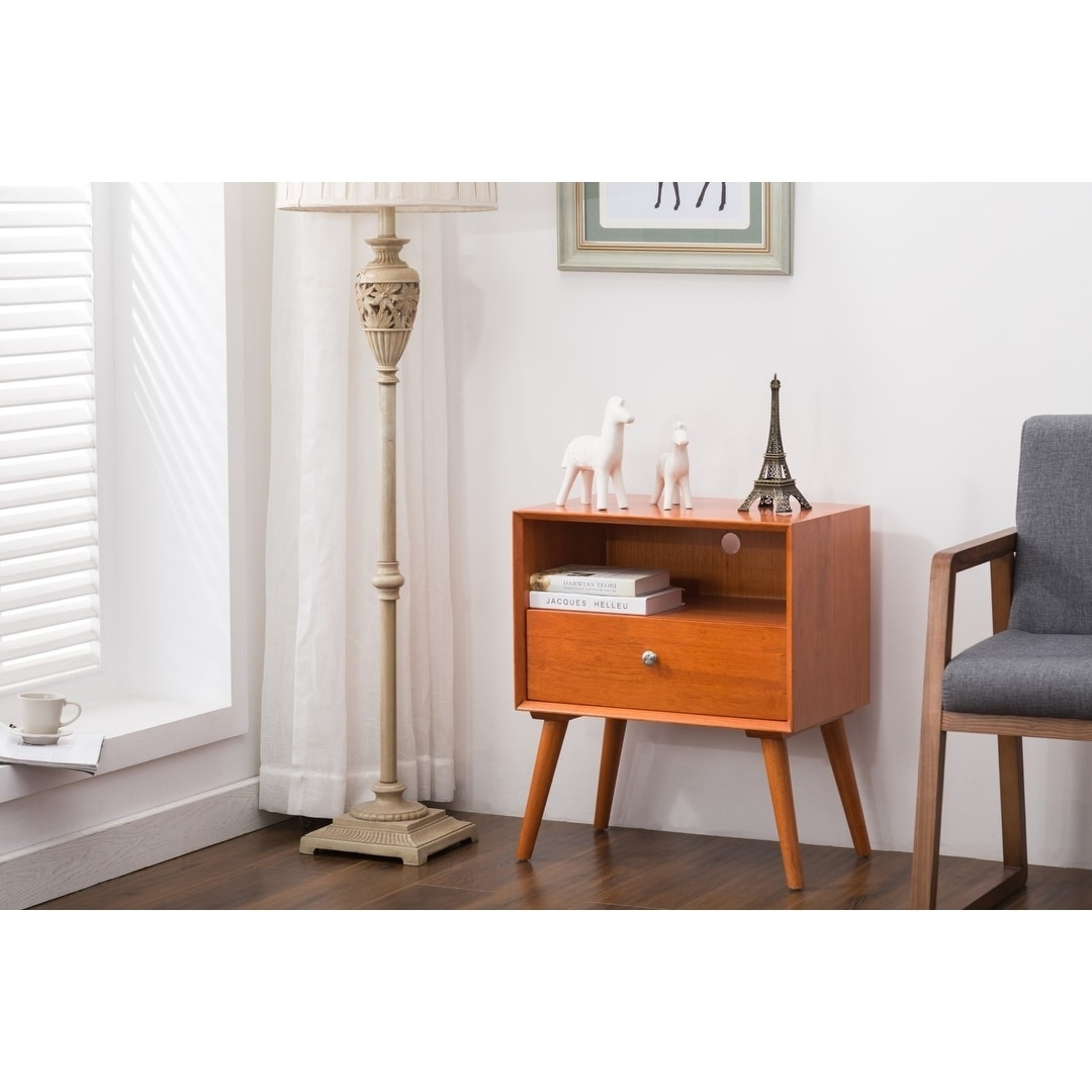Porthos Home Side Table/Nightstand With Drawer (Brown)