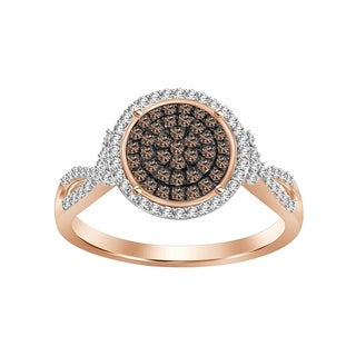 3/8 cttw Brown & White Diamond Round Cluster Ring 925 Sterling Rose Gold Palted