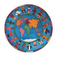 "Joy Carpets Kid Essentials Early Childhood Hands Around the World Round Area Rug 7'7"" - Multi - 7'7"" Round"