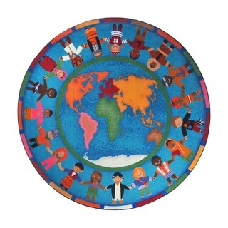 "Joy Carpets Kid Essentials Early Childhood Hands Around the World Round Area Rug 7'7"" - Multi"