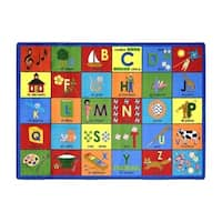 "Joy Carpets Kid Essentials Language and Literacy Bilingual Phonics Rectangular Area Rug 7'8"" x 10'9"" - Multi - 7'8"" x 10'9"""
