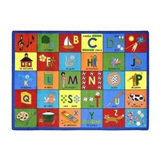 "Joy Carpets Kid Essentials Language and Literacy Bilingual Phonics Rectangular Area Rug 7'8"" x 10'9"" - Multi"
