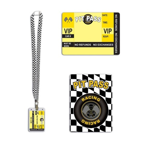 """Beistle Racing Pit Pass 25"""" Lanyard with Card Holder - 12 Pack (1/Card)"""