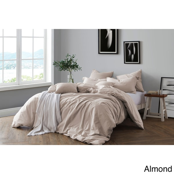 All Natural Prewashed Yarn Dye 100% Cotton Premium Wrinkled Look Chambray Full/Queen Duvet Cover Set - Ash Grey (As Is Item). Opens flyout.