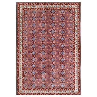 Herat Oriental Afghan Hand-knotted Kargahi Wool Rug (5'6 x 8'2)