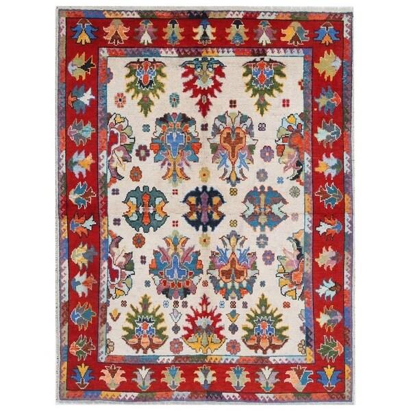Handmade Kargahi Wool Rug (Afghanistan) - 6' x 8'