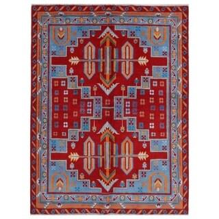 Herat Oriental Afghan Hand-knotted Kargahi Wool Rug (5' x 6'5)