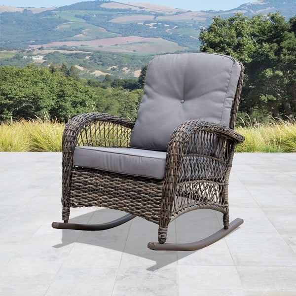 Corvus Rno Outdoor Wicker Rocking Chair With Cushions In Brown As Is Item