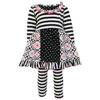 AnnLoren Girls Stripe, Floral, and Polka Dot Dress Two-Piece Outfit