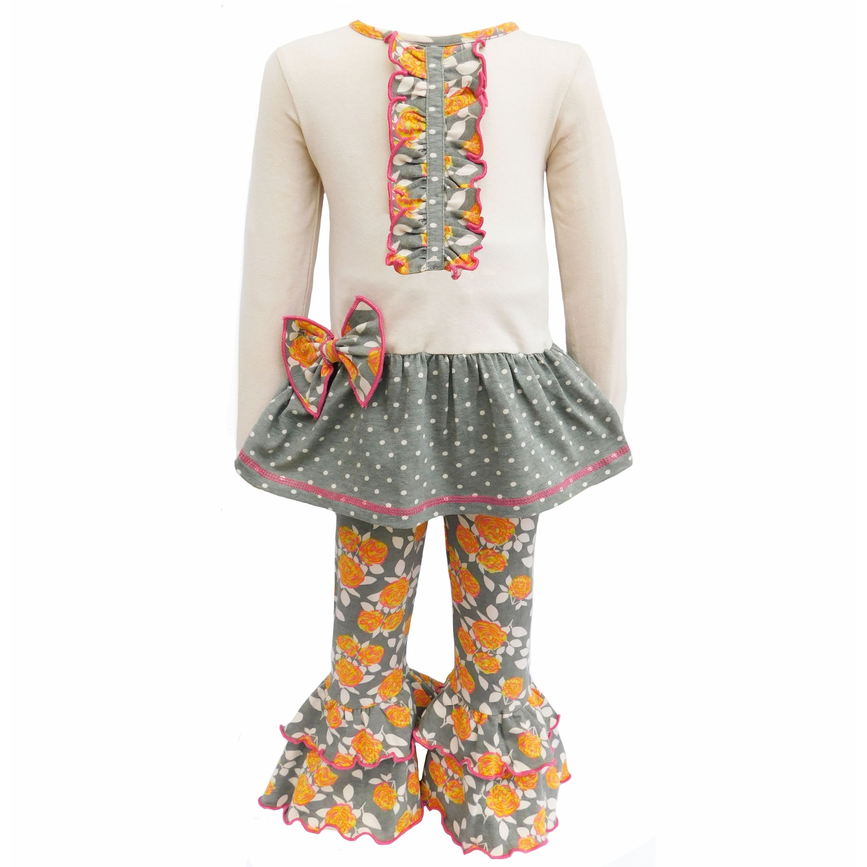 NEW Boutique Girls Yellow Floral Ruffle Tunic Dress Striped Leggings Outfit Set