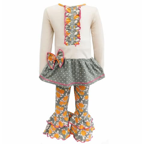 AnnLoren Girls Boutique Fall Floral & Polka Dots Dress and Legging Set