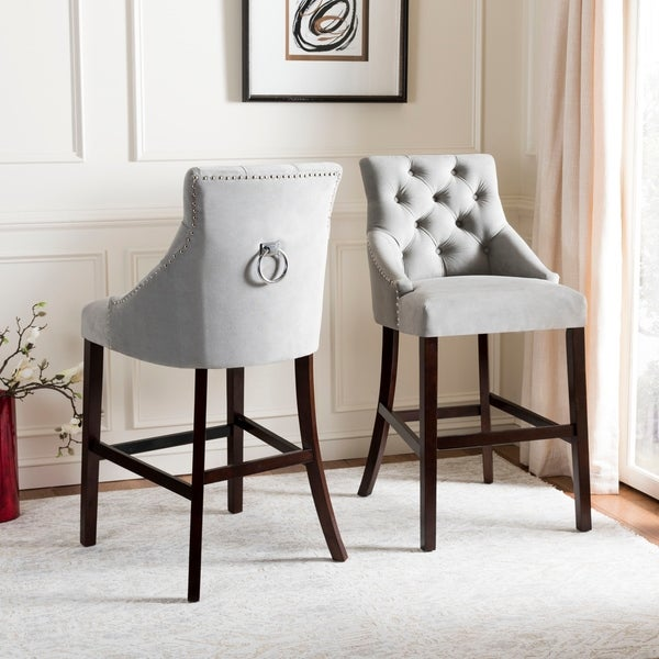 Shop Safavieh 30 Quot Eleni Tufted Wing Back Bar Stool Grey