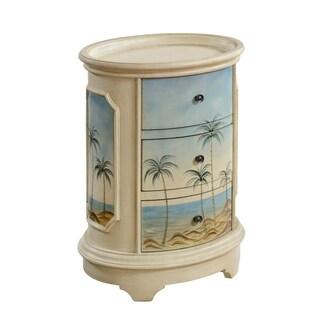 Treasure Trove Olosega Ivory Sea View Small 3-drawer Oval Chest