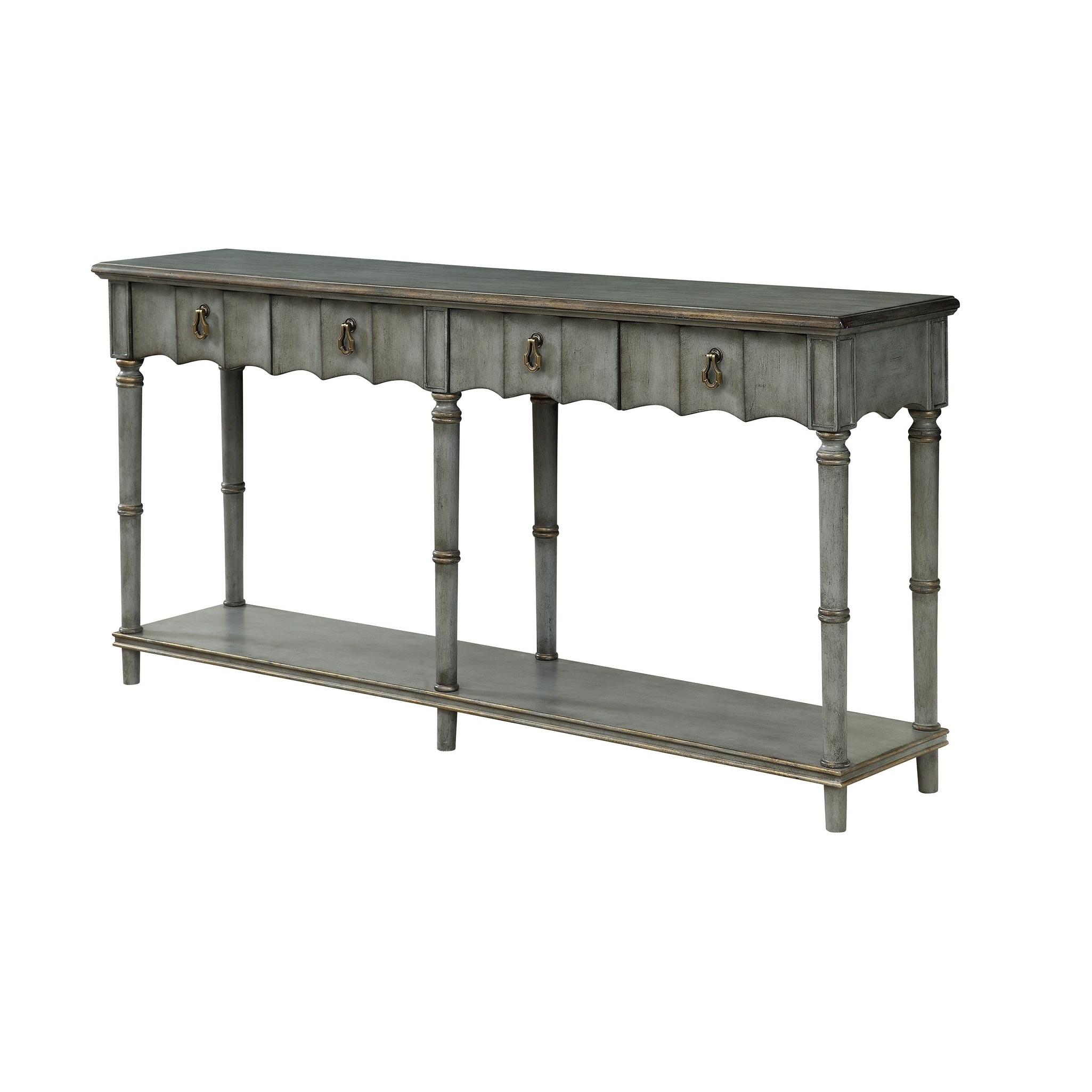Treasure Trove Mystique Grey and Aged Copper 2-drawer Console Table