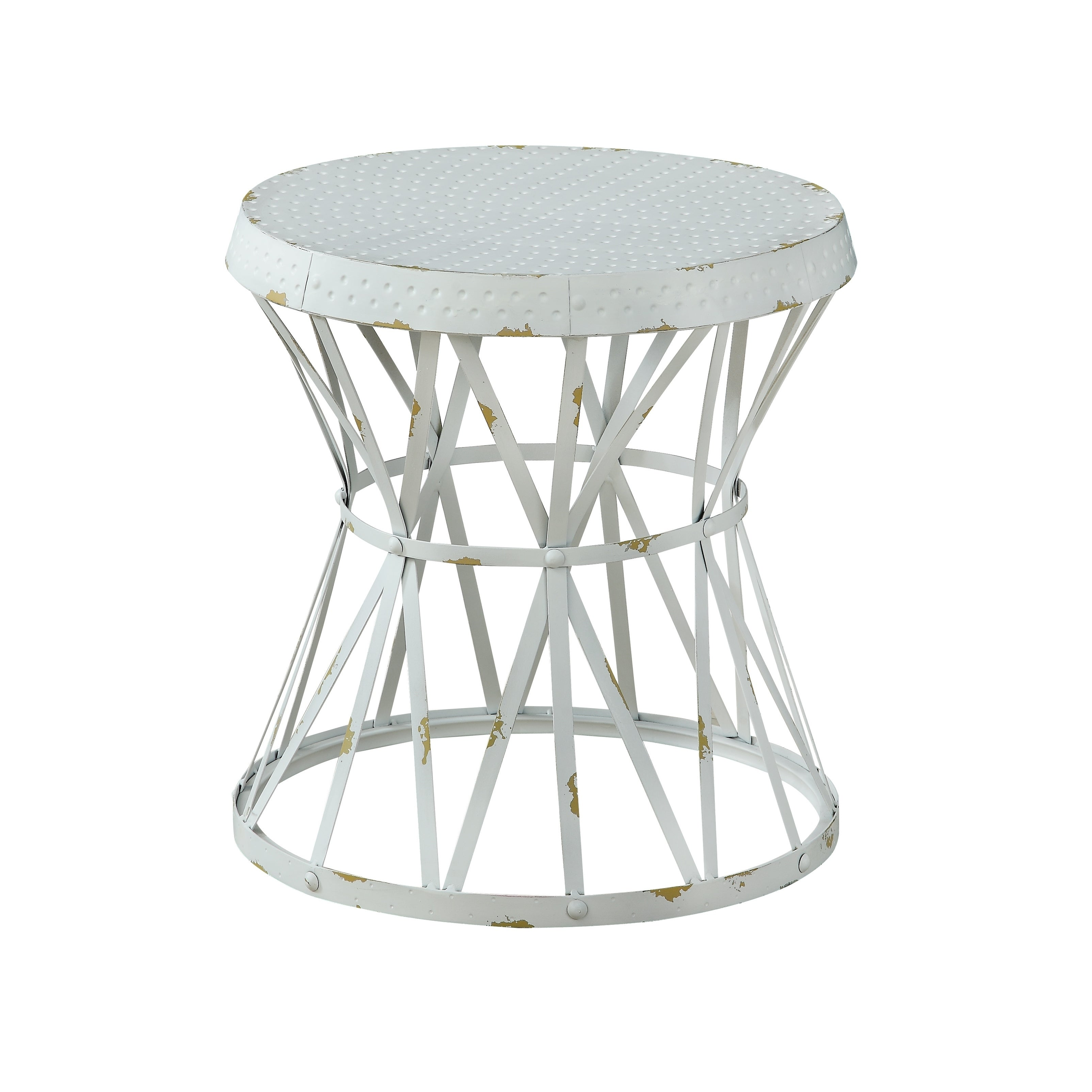 Treasure Trove Reef Weathered White Small Round Accent Table