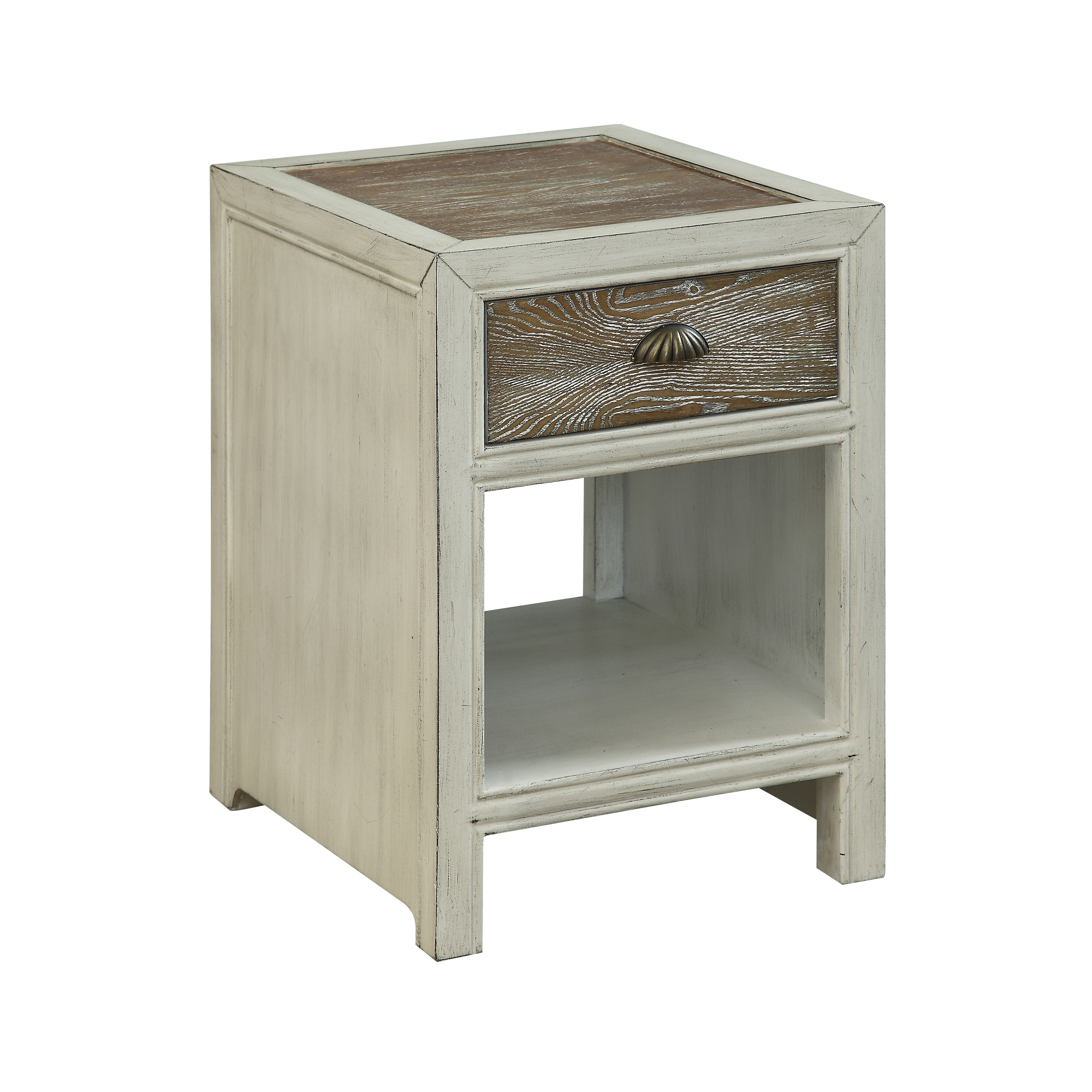 Treasure Trove Wheeland Aged White and Brown 1-drawer Chairside Table