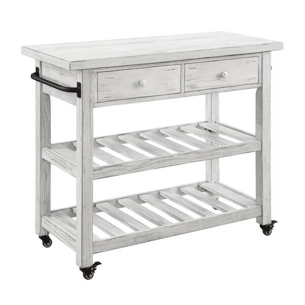 Treasure Trove Orchard Park White Rub 2-drawer Kitchen Cart