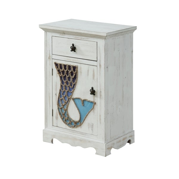 Shop Treasure Trove Marina White Rub Small 1 Door 1 Drawer Cabinet Free Shipping Today