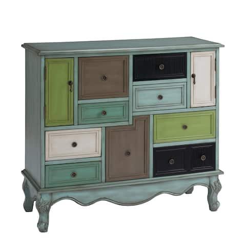 """Somette Nine Drawer Two Door Cabinet, Leslie Multicolor - 40""""L x 16""""W x 36.5""""H"""