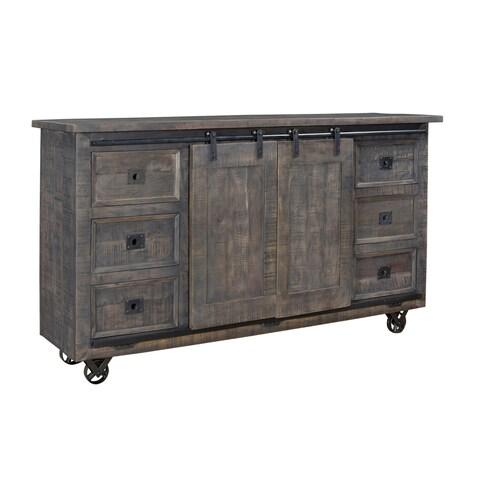 Treasure Trove Smokey Ember Grey 6-drawer 2-sliding Door Credenza