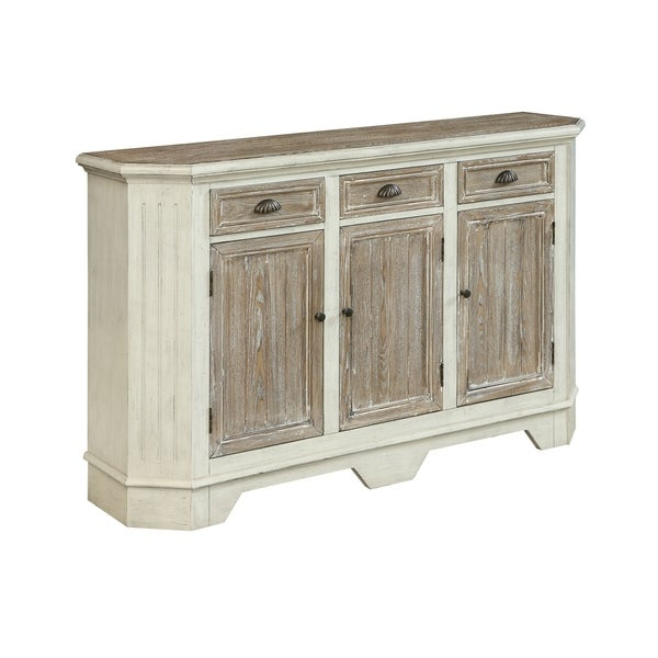 Treasure Trove Wheeland Aged White and Brown 3-door 3-drawer Credenza