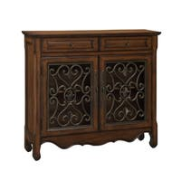 Treasure Trove Hollin Brown and Bronze Metal 2-drawer 2-door Cupboard