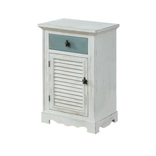 Treasure Trove Marina White Rub Small 1-door 1-drawer Cabinet