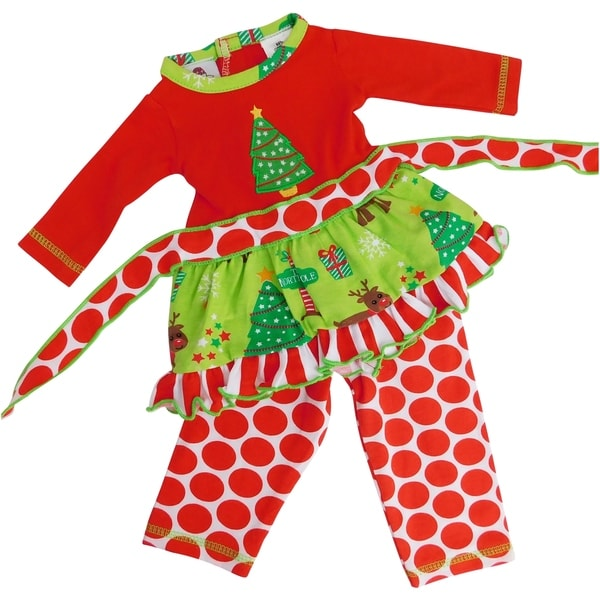 AnnLoren Christmas Tree Holiday 2 piece Outfit for 18 inch Dolls