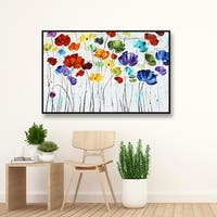 ArtWall Jolina Anthony's 'Lilies' Floater Framed Gallery Wrapped Canvas