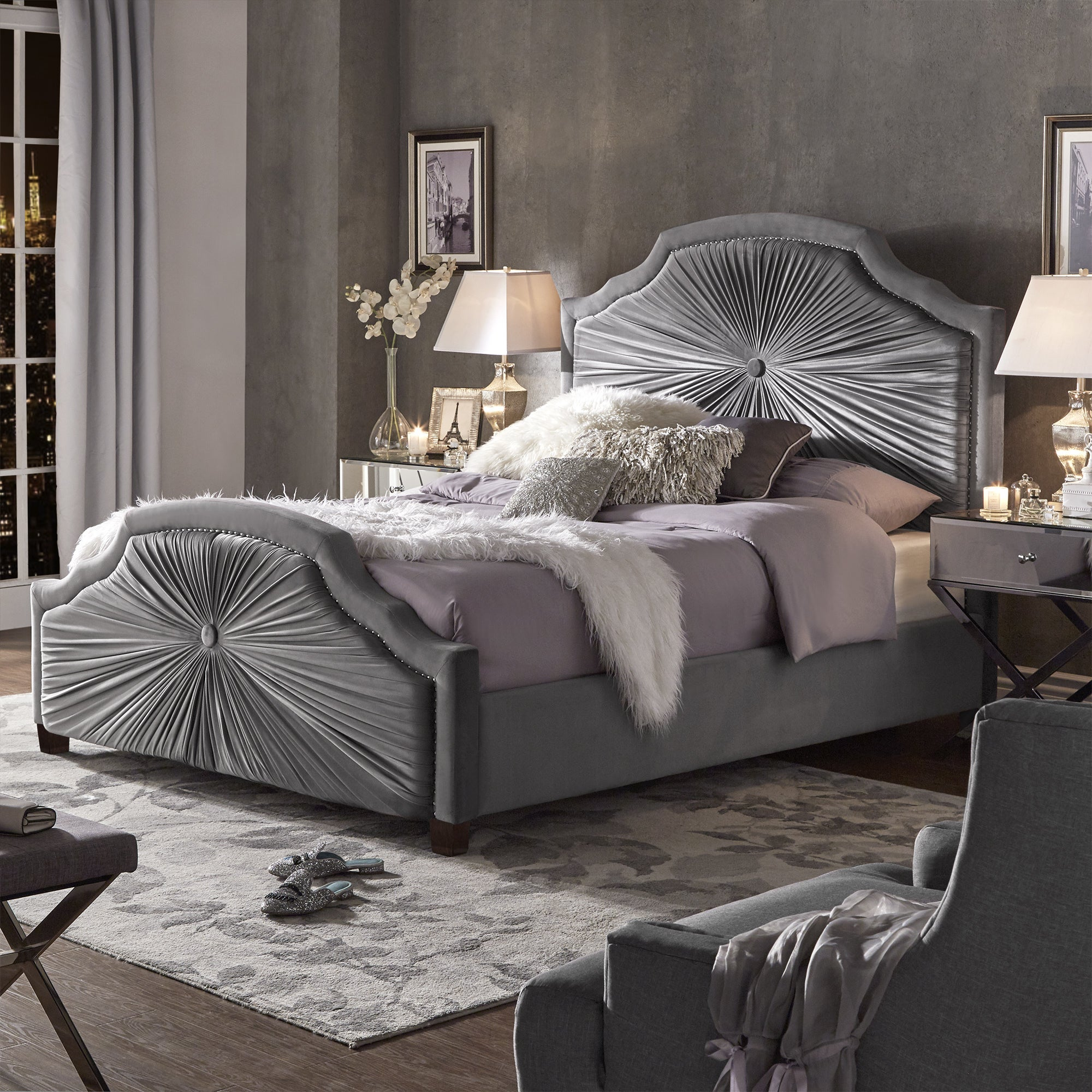 Silver Orchid Blood Grey Velvet Bed with Silver Nailhead Trim (Queen)