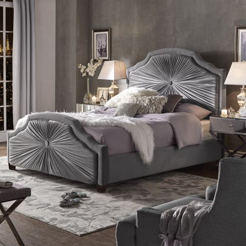 Silver Orchid Briscoe Grey Velvet Bed with Silver Nailhead Trim