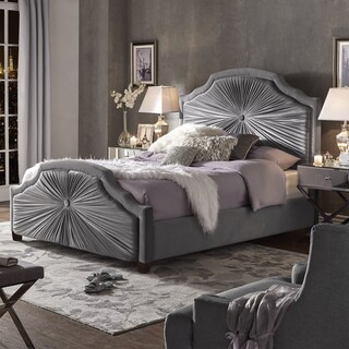 Shayla Grey Velvet Bed with Silver Nailhead Trim by iNSPIRE Q Bold