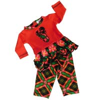 AnnLoren Girls Christmas Reindeer Plaid 2-Pc Outfit for 18 inch Dolls
