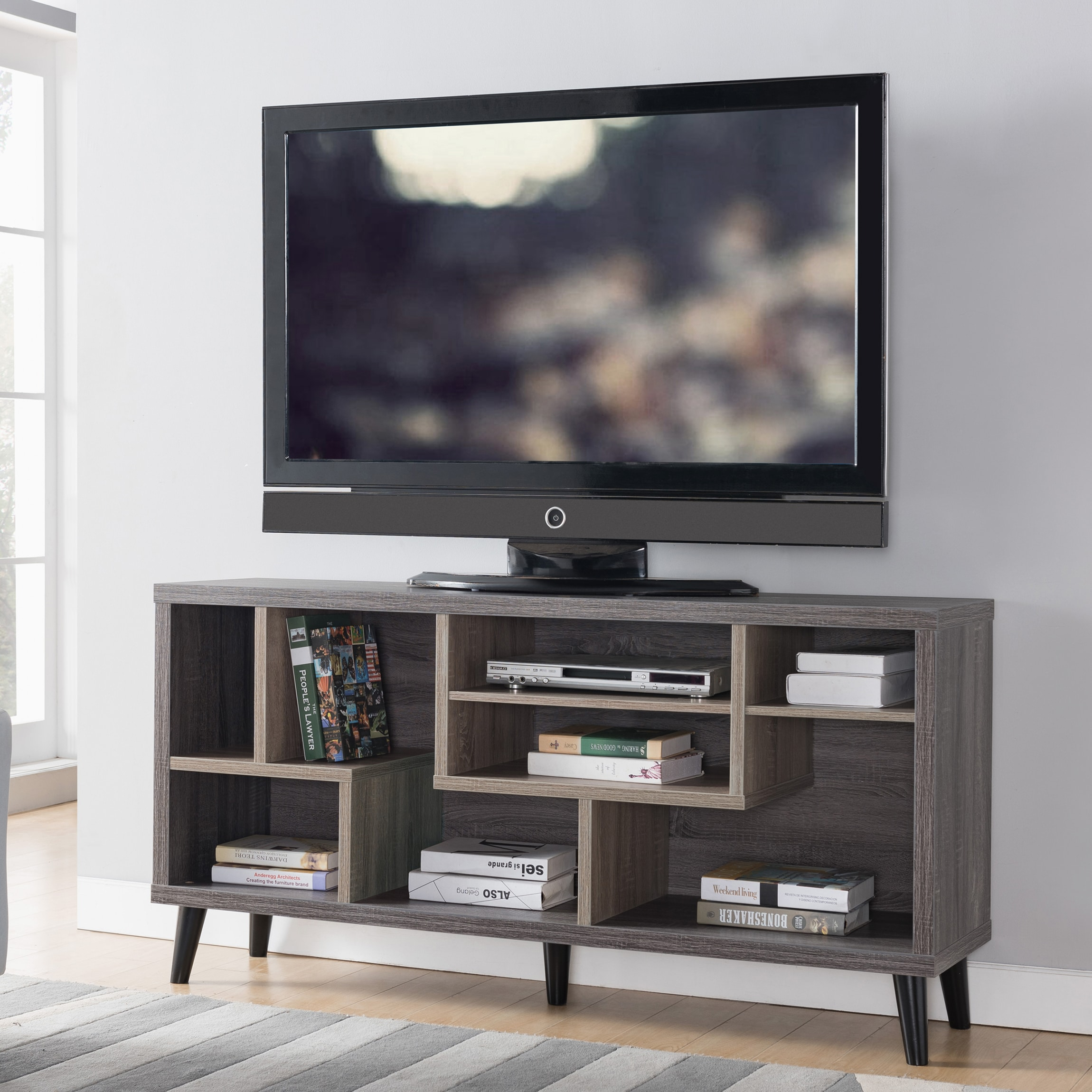 brand new f5a58 31dc8 Kirill Mid-Century Modern 60-inch Distressed Grey TV Stand by FOA