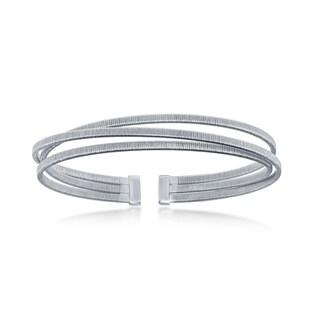 La Preciosa Sterling Silver, 14K Rose Gold, or 14K Gold Plated Italian Triple Wire Designer Bangle