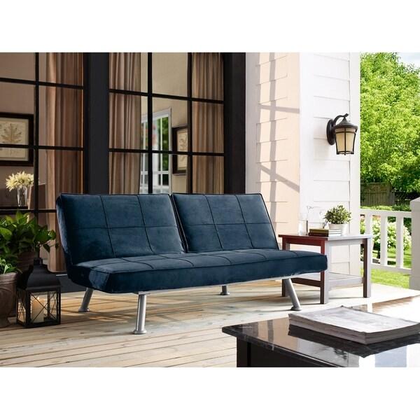 Serta Maitland Dream Navy Blue Microfiber Convertible Sofa