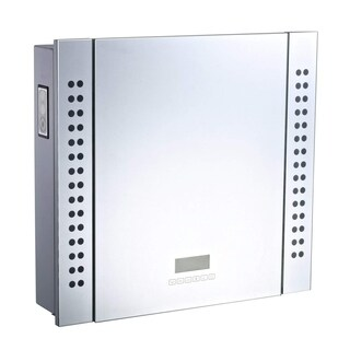 "HomCom 25"" x 23"" Wall Mounted LED Lit Bathroom Mirror Cabinet with Bluetooth Speaker, Shaver Socket Outlet and LCD Display"
