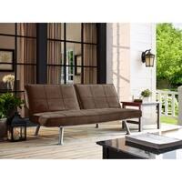 Serta Maitland Dream Java Brown Microfiber Upholstered Armless Convertible Sofa