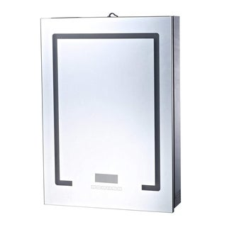 """HomCom 28"""" x 20"""" Wall Mounted LED Lit Bathroom Mirror Cabinet with Bluetooth Speaker and LCD Display - Silver"""
