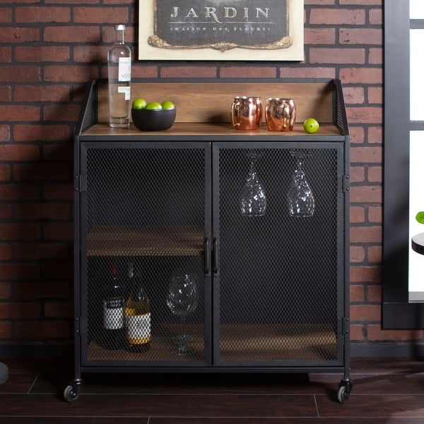"6 Tips For A Kitchen You Can Love For A Lifetime: Shop 33"" Metal Mesh Door Industrial Bar Cabinet"