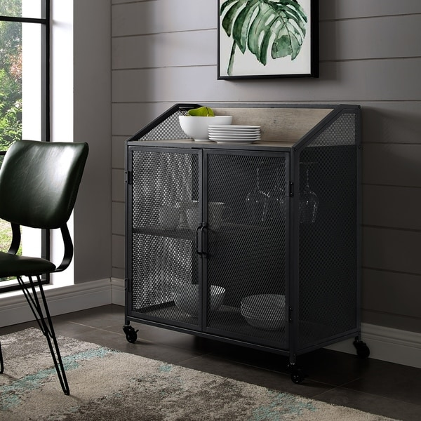 Industrial Bar Cabinet With Mesh   33 Inch