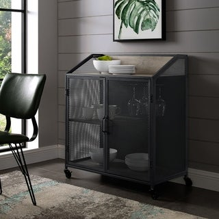 Carbon Loft Pierpont Metal Mesh Door Industrial Bar Cabinet - 33 x 17 x 38H